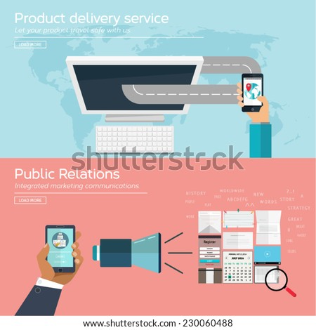Set of flat concept design for product purchase and public relations. Icons and illustrations for web and mobile apps and design interface. - stock vector