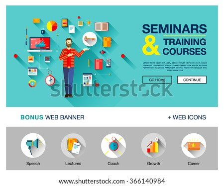 Set of flat concepts icons for training and courses in business, finance, consulting, management, human resources, career, staff training. With man with beard in sweater with kay of knowledge.