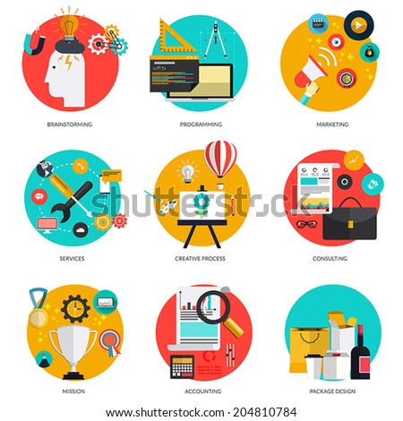 Set of flat  concepts on brainstorming and marketing, programming, service,creative process, consulting,mission, accounting and package design . Design elements for web and mobile applications - stock vector