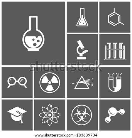 Set of flat dark icons (science, physics, chemistry), vector illustration - stock vector