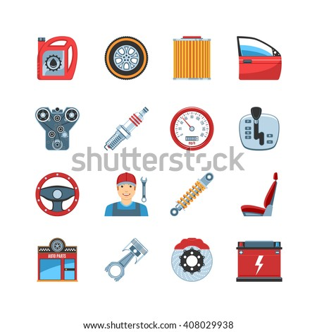 Set Of Flat Design Auto Service Car Repair Parts Icons. Isolated Vector Illustration