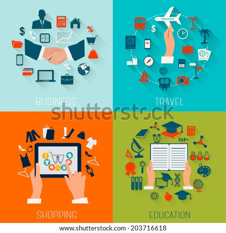 Set of flat design backgrounds for education, business, travel and shopping. Vector illustration.  - stock vector