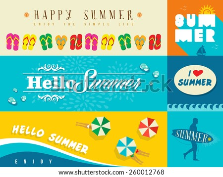 Set of flat design banners for summer and vacation. Ideal for greeting card, print poster and website. EPS10 vector file. - stock vector