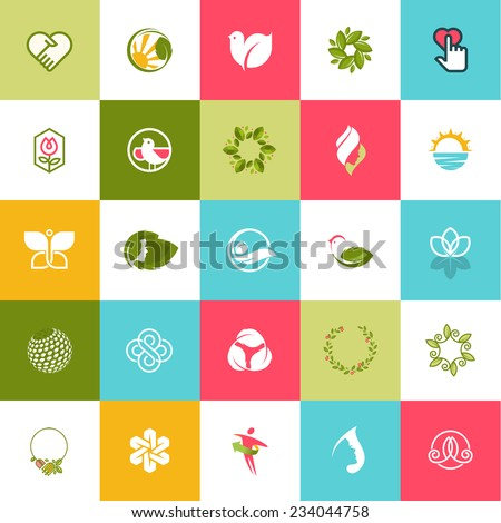 Set of flat design beauty and nature icons for websites, print and promotional materials, web and mobile services and app, for cosmetics, healthcare, spa, wellness, natural products, fashion. - stock vector