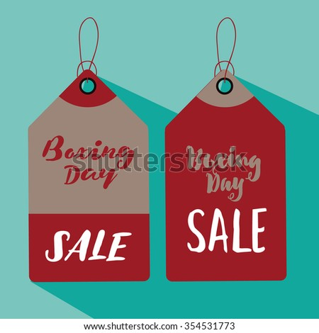 Set of flat design Boxing Day sale tags. EPS 10 vector illustration.