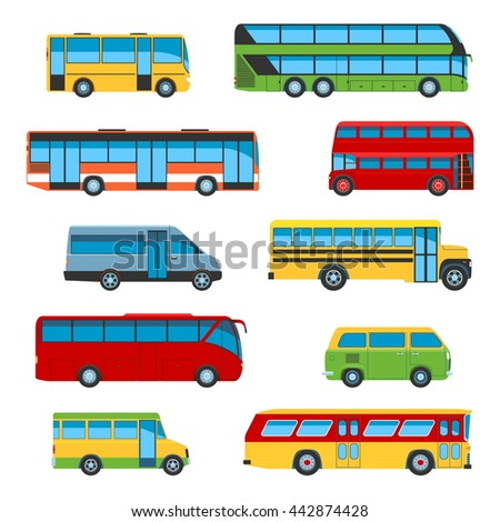Set Of Flat Design Bus Icons. Isolated Vector Illustration - stock vector