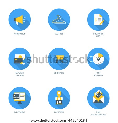 Set of Flat Design Business and Shopping Icons With Long Shadow. Promotion, Clothes, Shopping List, Payment in Cash, Shopping, Fast Delivery, E-Payment, Location, SMS Transaction. Vector Icons - stock vector