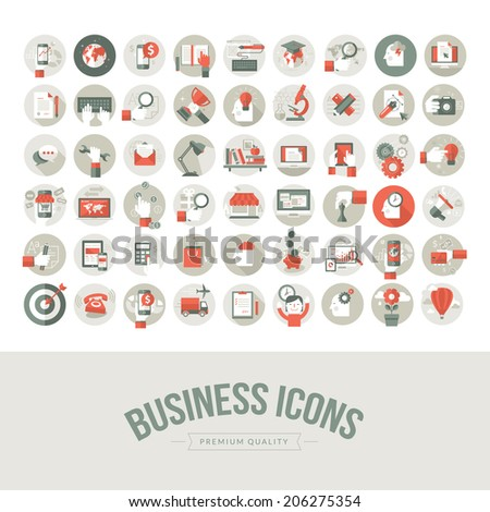Set of flat design business icons. Icons for business, marketing, education, technology, seo, media, communication, finance, online shopping, e-commerce, creative idea, web development, social media. - stock vector