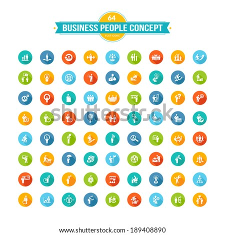 Set of flat design business people concept icons - stock vector