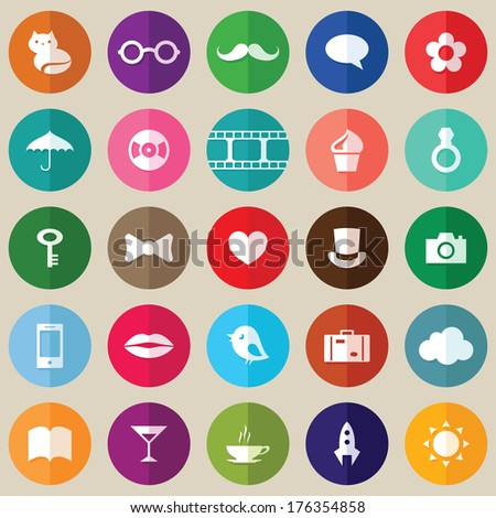 Set of flat design circle icons. Vector illustration saved 8 EPS. - stock vector