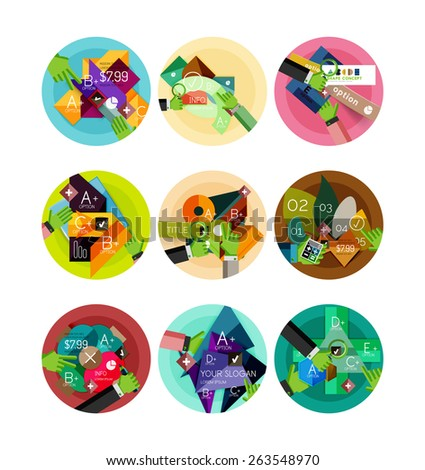 Set of flat design circle icons with geometric infographic diagrams, layouts - stock vector