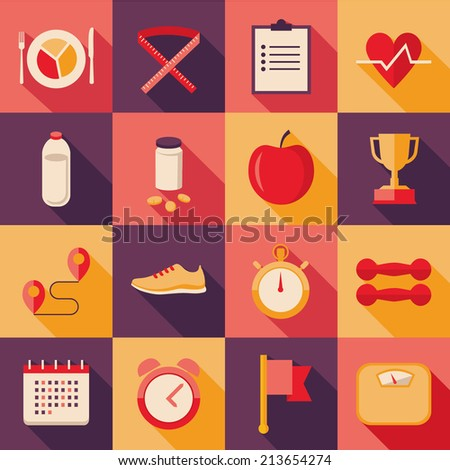 Set of flat design colored foursquare vector icons with long shadow effect for sport, dieting, weight loss, fitness, healthy lifestyle - stock vector