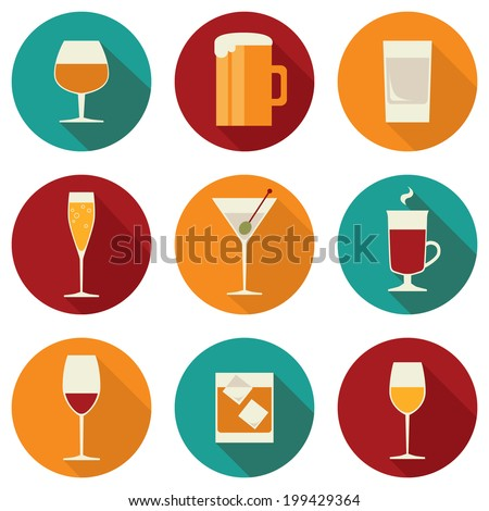 Set of flat design colored icons for alcohol drinks on rounds with long shadow effect isolated on white background - stock vector