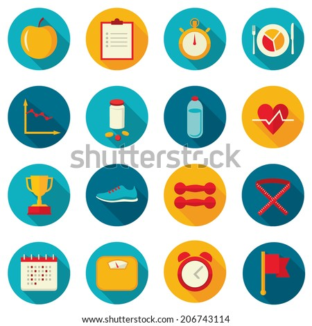 Set of flat design colored round vector icons for sport, dieting, weight loss, fitness, healthy lifestyle. Isolated on white background - stock vector