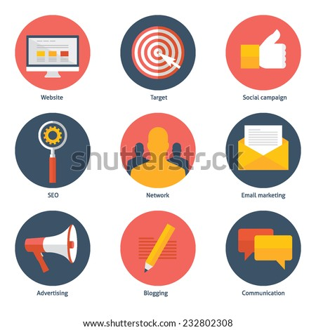 Set of flat design colorful vector illustration icons for digital marketing, social campaign, seo, advertising, blogging, communication isolated on white - stock vector