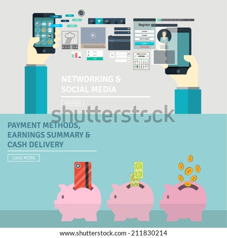 Set of flat design concept for UX/UI kit design. Elements for networking, social media, payment methods, earnings summary, money delivery. Symbols for service development and presentations. - stock vector