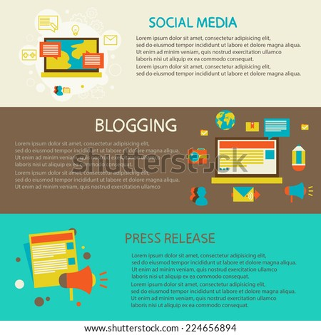 Set of flat design concept  for web and mobile services and apps. Social media, blogging, press release - stock vector
