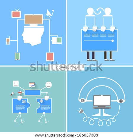 Set of flat design concept icons, Connection - stock vector