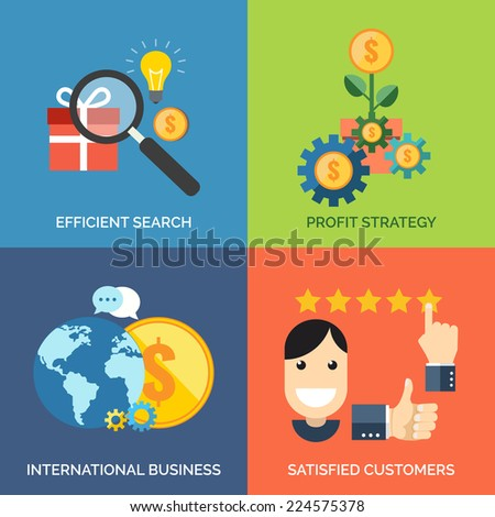Set of flat design concept icons for business. Efficient search, Profit strategy, International business and Satisfied customers. Vector Illustration. - stock vector
