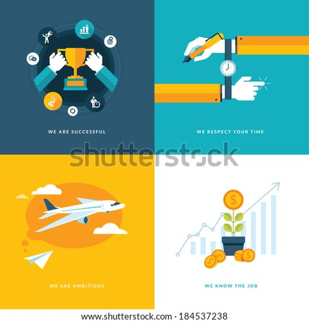 Set of flat design concept icons for business. Icons for successful, ambitious, respect your time, and expertise and professionalism in job - stock vector