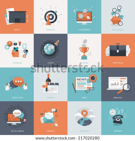 Set of flat design concept icons for business. Icons for website development and mobile phone services and apps.      - stock vector
