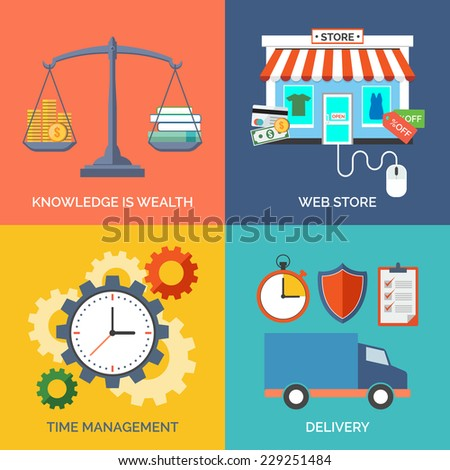 Set of flat design concept icons for business. Knowledge is wealth, Web store, Time management and Delivery. Vector Illustration. - stock vector