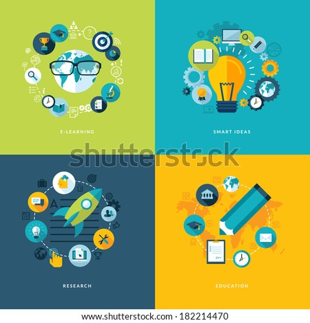 Set of flat design concept icons for education. Icons for online learning, smart ideas, research and education. - stock vector