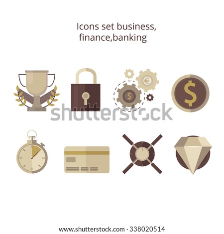 Set of flat design concept icons for finance, banking. Money, safe,currency exchange , diamond, card, winner's Cup, coins, lock, stopwatch.Icons for website development and mobile phone services,apps. - stock vector