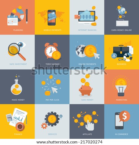 Set of flat design concept icons for finance, banking, online payment, online commerce. Icons for website development and mobile phone services and apps.   - stock vector