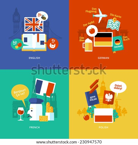 Set of flat design concept icons for foreign languages. Icons for english, german, french and polish. - stock vector