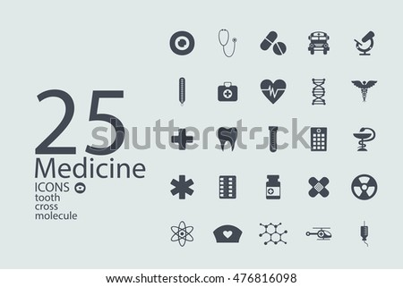 Set of flat design concept icons for medicine
