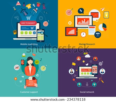 Set of flat design concept icons for mobile marketing, market research, customer support and social network. Concepts for web banners, printed materials and mobile phone services. - stock vector