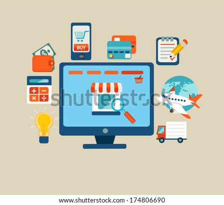 Set of flat design concept icons for online shopping. Icons for online shop, payment methods and delivery. - stock vector