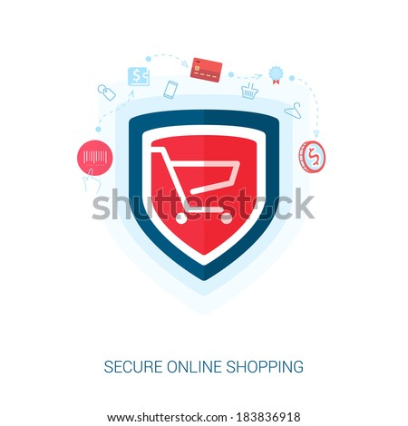 Set of flat design concept icons for secure online shopping. Teaser or splash screen illustration for safe the add to cart or payment transaction in e-commerce web site. - stock vector