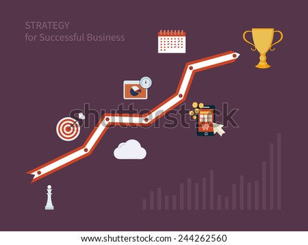 Set of flat design concept icons for strategic planning and strategy for successful business. Illustration includes icons for goal marketing, emerging market, mobile services and marketing research. - stock vector