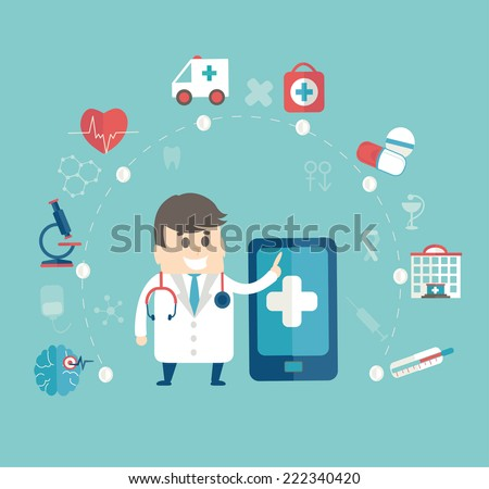 Set of flat design concept icons for web and mobile phone , medical concept, infographic, flat style with doctor, vector. - stock vector