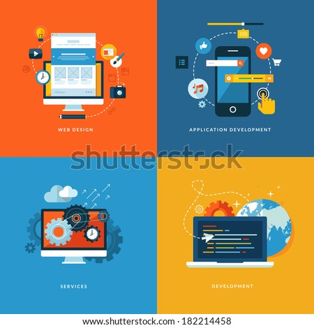Set of flat design concept icons for web and mobile phone services and apps. Icons for web design, application development, services and programming.     - stock vector