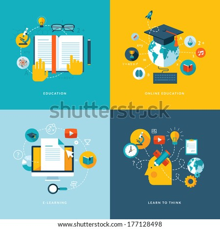 Set of flat design concept icons for web and mobile services and apps. Icons for education, online education, online learning, learn to think. - stock vector