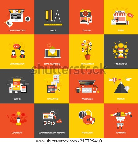 Set of flat design concept icons website development, creative process, store, seo, gallery, tools , time is money, teamwork and accounting. Vector - stock vector
