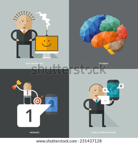 Set of flat design concept images for infographics, business, web, education, mobile marketing, ai, high technology - stock vector