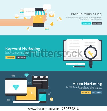 Set of flat design concept of Mobile Marketing , Keyword Marketing , Video Marketing  Design for Website Banner Printable Vector Design  illustration. - stock vector