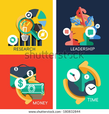 Set of flat design concepts - business idea, money, leadership, research, time - stock vector