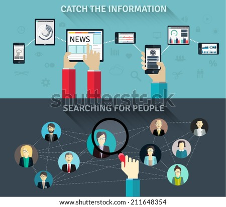 Set of flat design concepts for getting the information and searching for people apps. Concepts with included UI/UX elements, for web banners and printed materials for the presentation. - stock vector