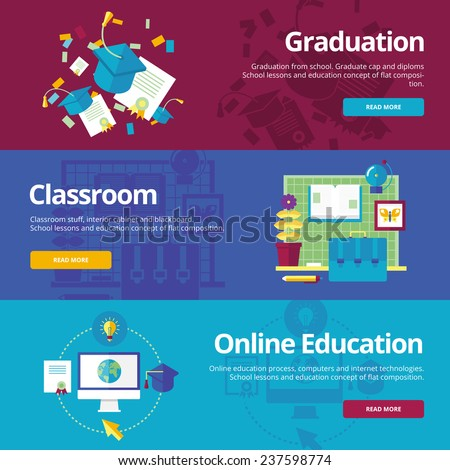 Set of flat design concepts for graduation, classroom, online education. Concepts for web banners and print materials. - stock vector