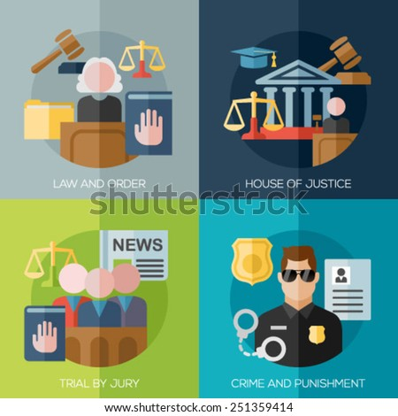 Set of flat design concepts for law and order, house of justice, trial by jury, crime and punishment - stock vector