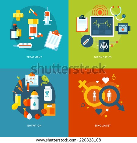 Set of flat design concepts for medical icons for mobile apps and web design. Icons for treatment, diagnostics, nutrition and sexologist. - stock vector