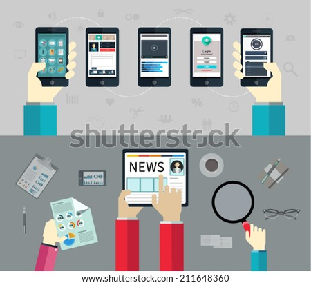 Set of flat design concepts for mobile apps and websites, career, and business. Concepts with included UI/UX elements, for web banners and printed materials for the service and the presentation. - stock vector