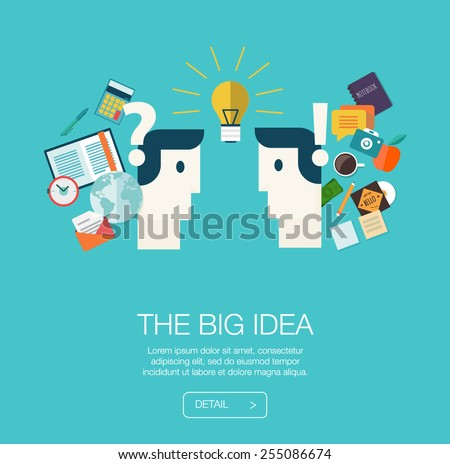 Set of flat design concepts for mobile web, career, and business. Concepts  big idea in business. Process creative - stock vector