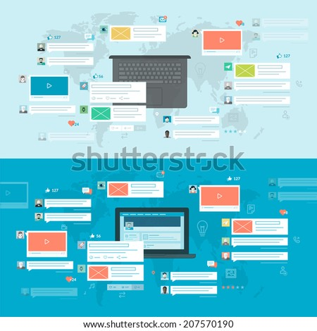 Set of flat design concepts for social network, social media, online communication. Concepts for web banners and printed materials, for web and mobile services and apps. - stock vector
