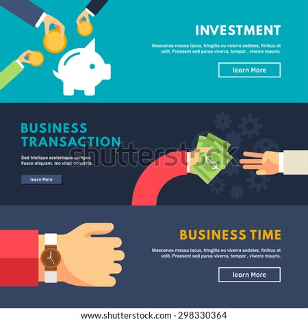 Set of Flat Design Concepts for Web Banners and Promotional Materials. Investment, Business Transations, Business Time - stock vector